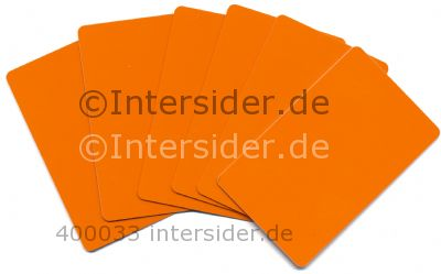 Plastikkarten beidseitig Orange PVC Offset 0,76